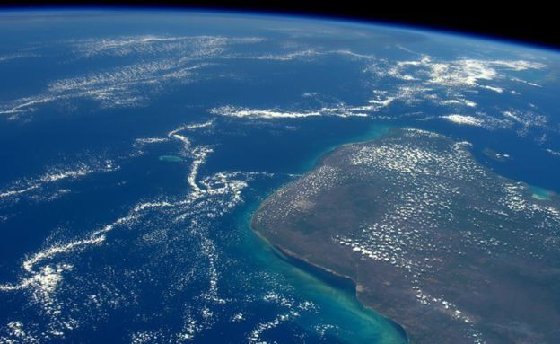 Meksika'daki Yucatan Yarımadası'nın uzaydan görünümü
