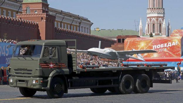 Un dron Korsar exhibido en Moscú