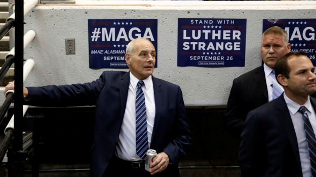 White House Chief of Staff John Kelly looks on as US President Donald Trump speaks at a campaign rally for Senator Luther Strange in Huntsville, Alabama, U.S. September 22, 2017.