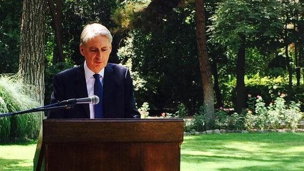 Mr Hammond at the re-opening of Tehran embassy ceremony