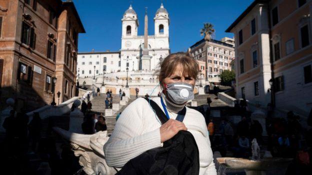 женщина в маске в Риме