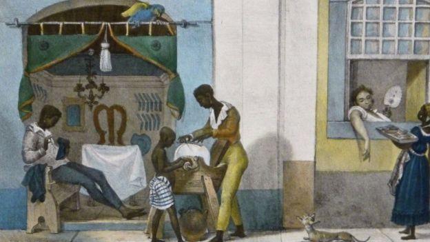 Pintura de Jean-Baptiste Debret retrata pessoas negras realizando serviços de cabeleireito, barbeiro e vendedora, no Rio de Janeiro do século 19