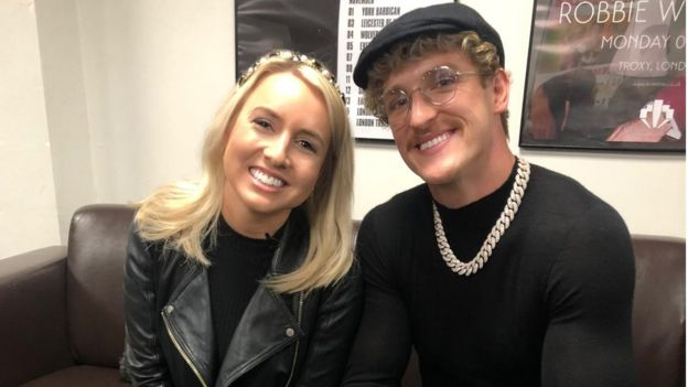 Logan Paul chatting to BBC Newsbeat reporter Eleanor Roper