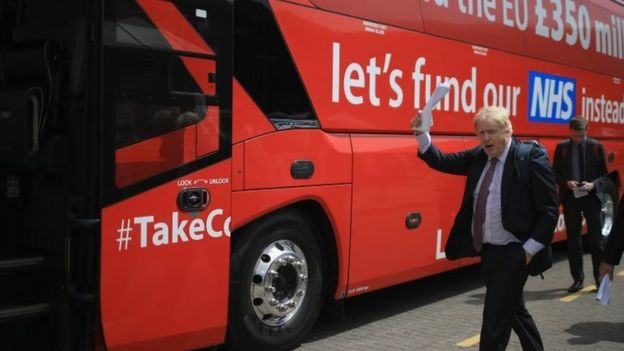 The infamous red Brexit bus during the referendum campaign with Brexiteer Boris Johnson