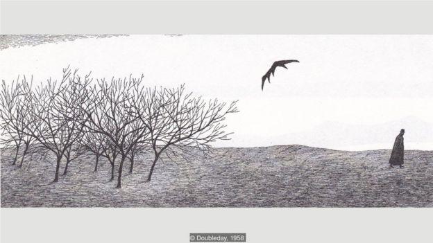 在《恶作剧》(The Object-Lesson)中,一只蝙蝠,也可能是一把伞,离开了灌木丛。
