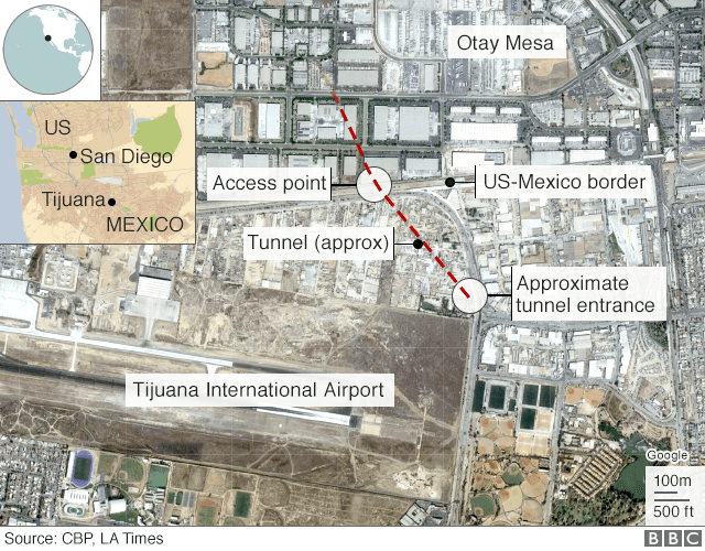 US-Mexico border - 'Longest ever' smuggling tunnel discovered _110704588_mexico_tunnel_640-nc