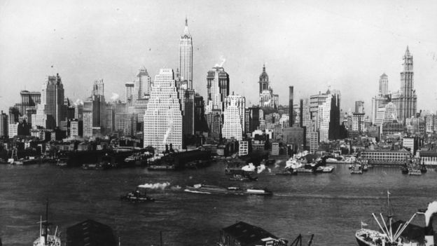 A view over the Hudson River of the Lower Manhattan skyline, New York City, in the 1930s