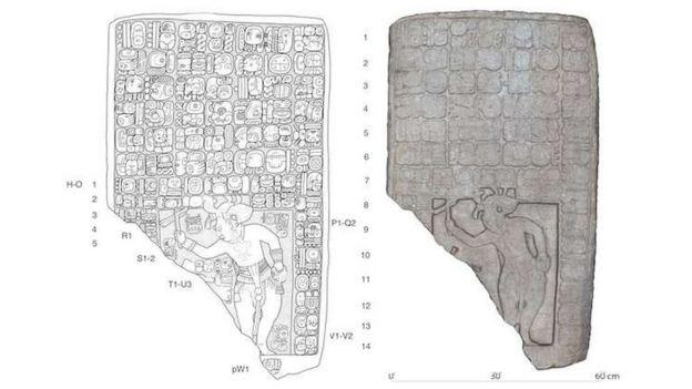 Desenho de Stephen Houston (à esq.) e modelo em 3D do painel encontrado no local