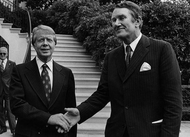 Australian Prime Minister Malcolm Fraser greets President Jimmy Carter at the White House in 1977.