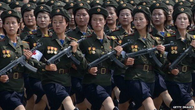 North Korean soldiers march in a parade in Pyongyang (photo from 2013)