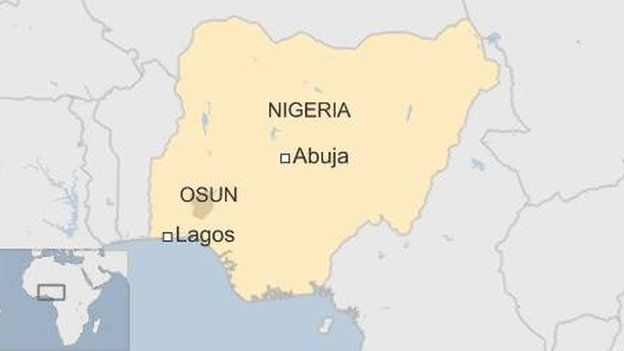 Map showing location of Osun