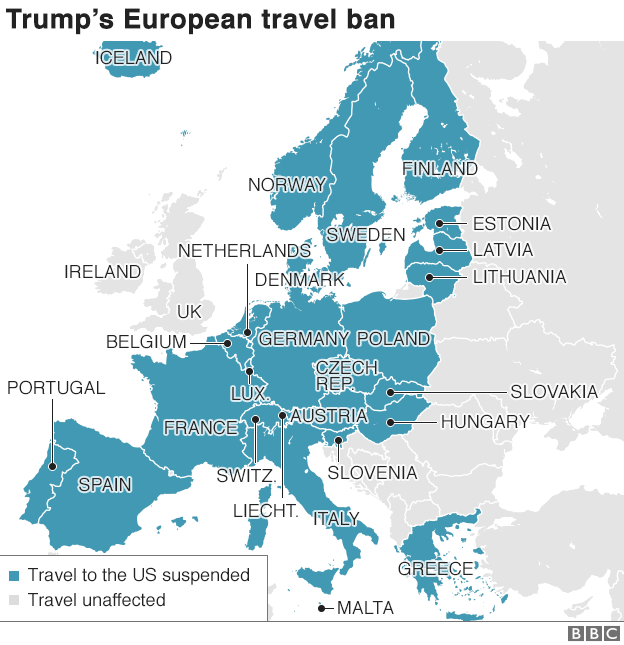Map of countries affected by US travel ban