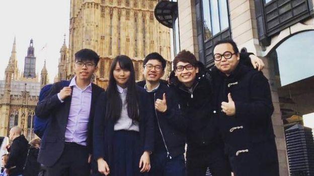 Jeffrey Ngo cùng Joshua Wong, Agnes Chow, Nathan Law và Derek Lam ở London