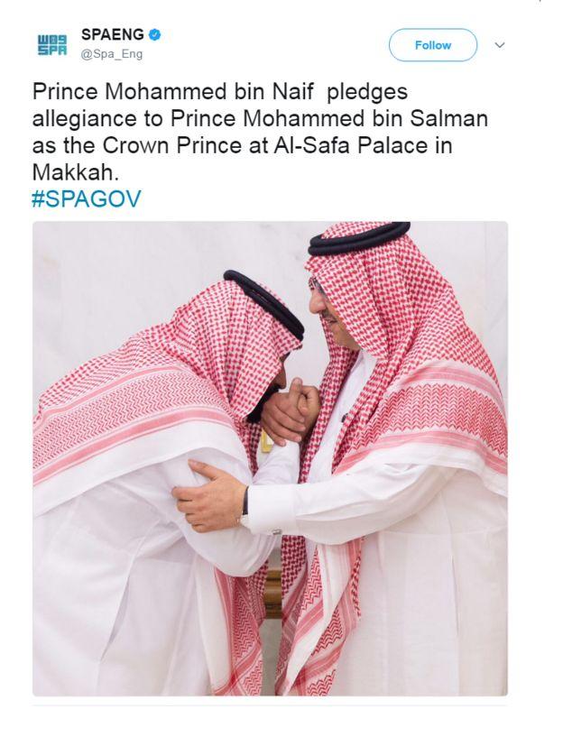 Tweet with a photo of Prince Mohammed bin Salman kissing Prince Mohammed bin Naif's hand. The text reads: Prince Mohammed bin Naif pledges allegiance to Prince Mohammed bin Salman as the Crown Prince at Al-Safa Palace in Makkah. #SPAGOV