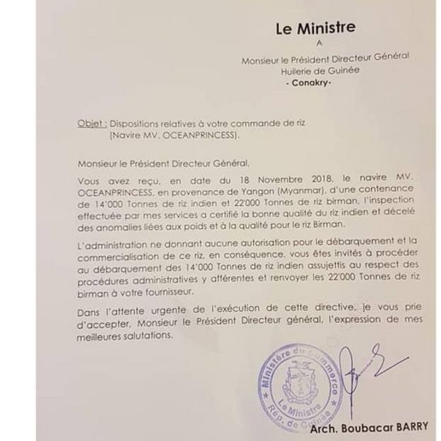 La qualité du riz transporté par le navire Oceanprincess ne rassure pas le ministre guinéen du Commerce.