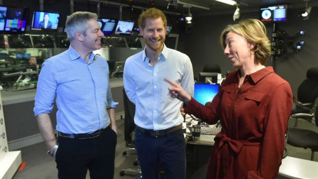 Prince Harry in Today studio with presenters Justin Webb and Sarah Montague