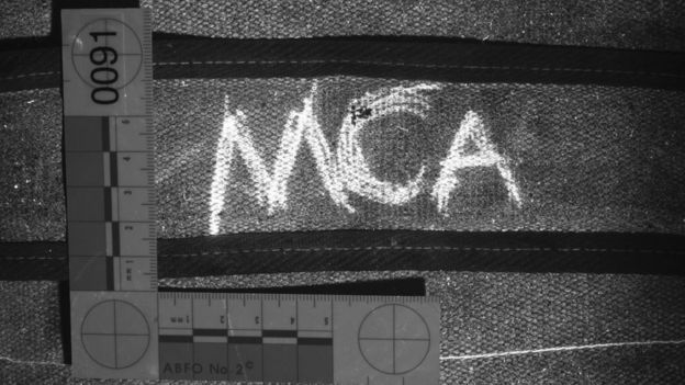 bag strap with letters MCA