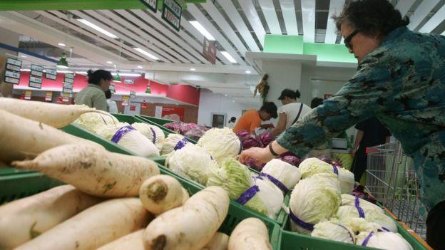 中国超市中的蔬菜