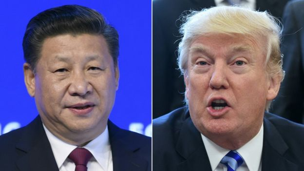 This combination of pictures created on March 30, 2017 shows China's President Xi Jinping (L) delivering a speech on the opening day of the World Economic Forum, on January 17, 2017 in Davos, and US President Donald Trump (R) announcing the final approval of the XL Pipline in the Oval Office of the White House on March 24, 2017 in Washington, DC