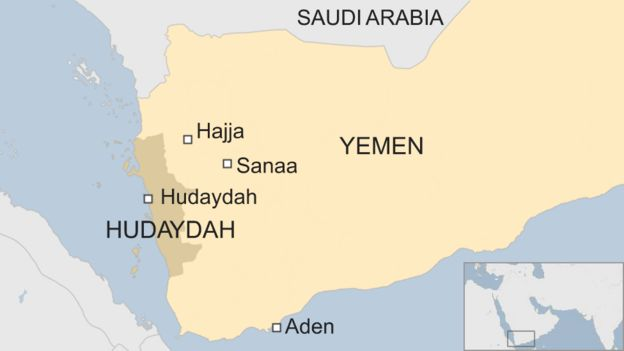 Map of Yemen showing location of Hudaydah