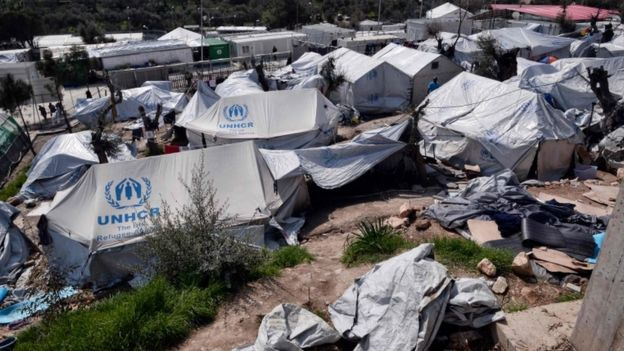 The Moria camp, which houses migrants on the island of Lesbos