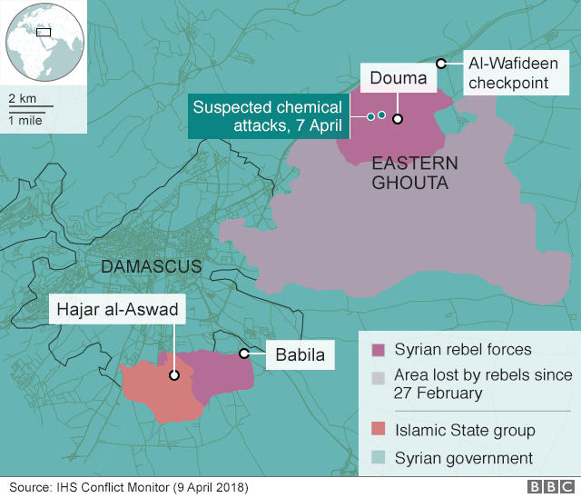 Syria crisis your questions answered bbc news map showing eastern ghouta and douma gumiabroncs Image collections
