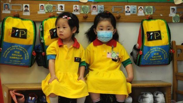Crianças em Hong Kong durante a pandemia de H1N1