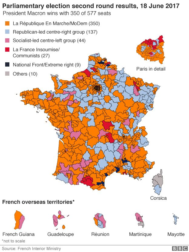 French map of second round results from 18 June election