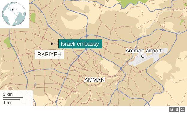 Map showing Israeli embassy in Amman