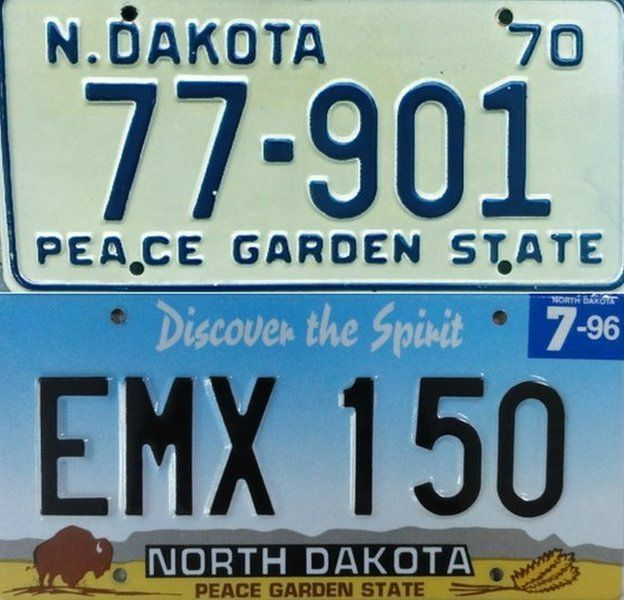 North Dakota's plates from 1970 and 1996