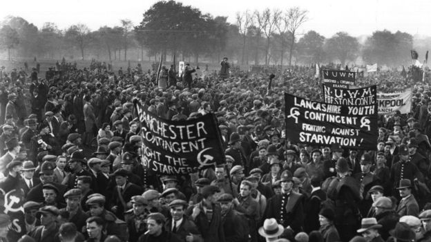 A mass of Hunger Marchers arrive in Hyde Park from all over Britain in protest against poverty and unemployment. November 1932: