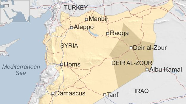 Map of Syria showing location of Albu Kamal and Tanf