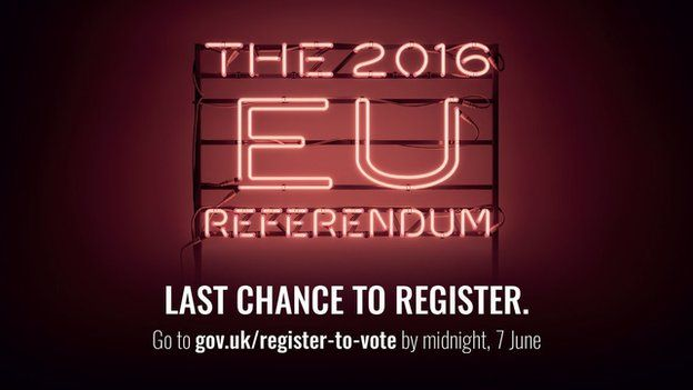 The 2016 EU Referendum: Last Chance to register is on 7th June