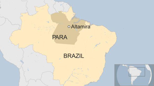 A map shows Altamira in Para, Brazil
