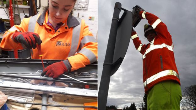 Two photos of Lyn Owers fixing street lights