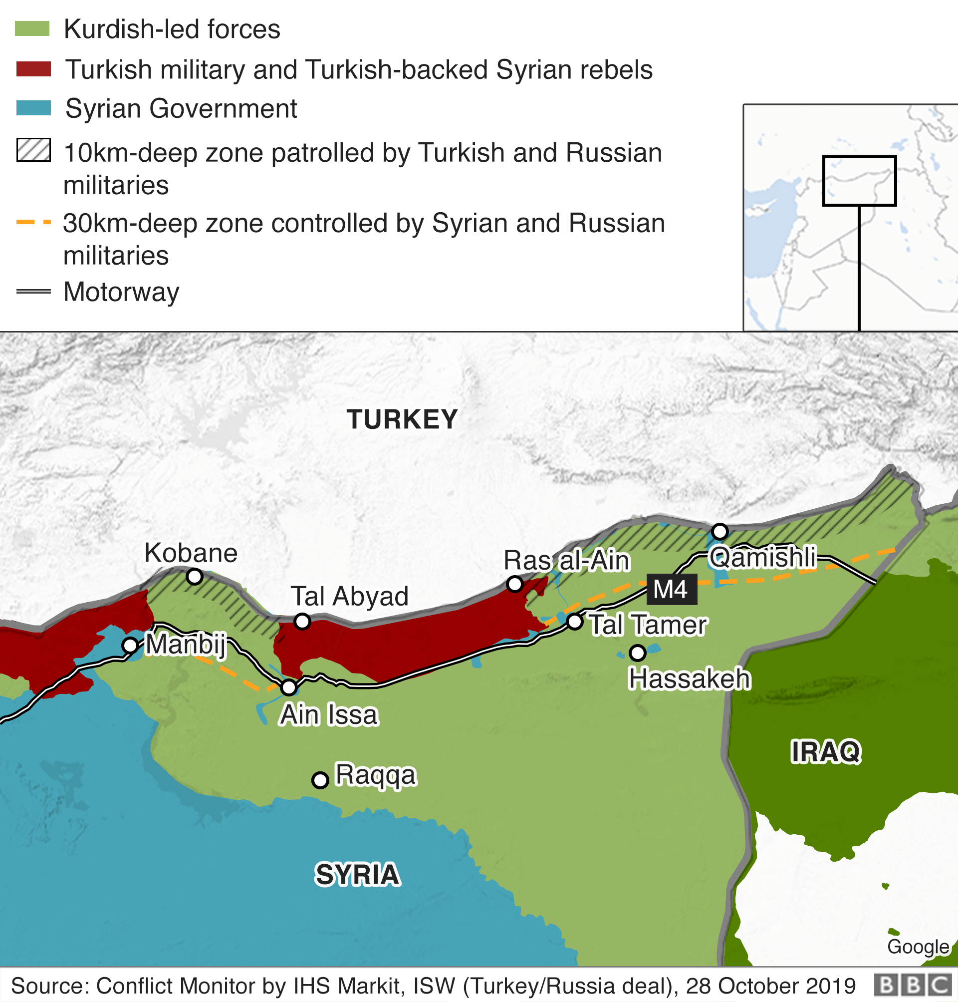 Map of territorial control in north-east Syria