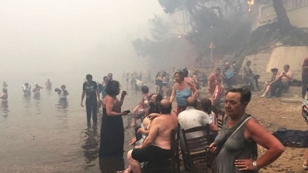 People escape the wildfires in Greece by heading to the beach