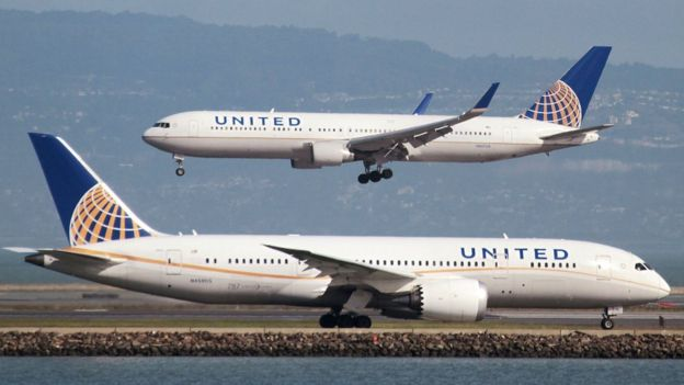 United Airlines Boeing 787 uçakları, 7 Şubat 2015, San Francisco Uluslararası Havalimanı'nda