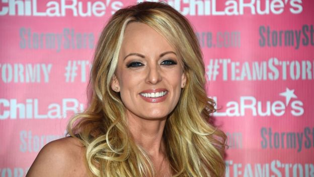Adult film star Stormy Daniels poses at Chi Chi Laures adult entertainment store in West Hollywood, California