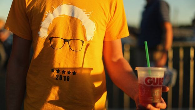 Sanders supporter with white hair T-shirt