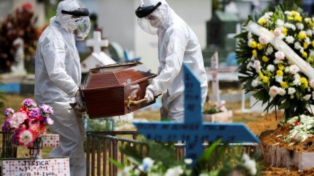 Homens enterram vítima de covid-19 em Manaus