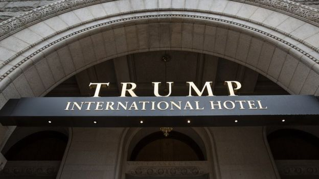 The main entrance to the Trump International Hotel in Washington, DC.
