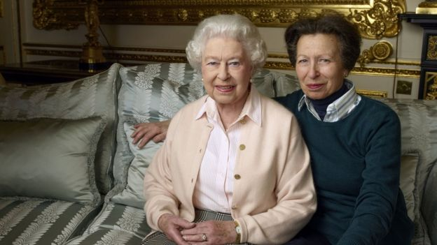 The Queen with her daughter, Anne The Princess Royal