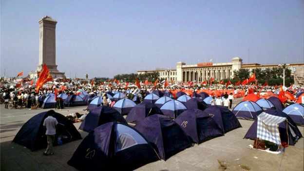 "Pro-democracy demonstrators pitch tents in Beijing""s Tiananmen Square before their protests were crushed by the People""s Liberation Army in this June 3, 1989 file photo. June 4 marks the 25th anniversary of the suppression of pro-democracy protests in Tiananmen Square in 1989. Picture taken June 3, 1989. REUTERS/Bobby Yip/Files"