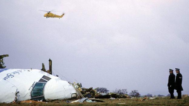 Restos del avión estrellado en Lockerbie.