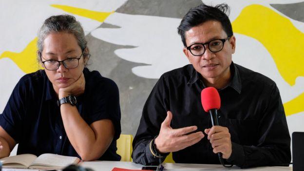 Sri Lestari dari IPT 1965 dan Usman Hamid, Direktur Amnesty International Indonesia