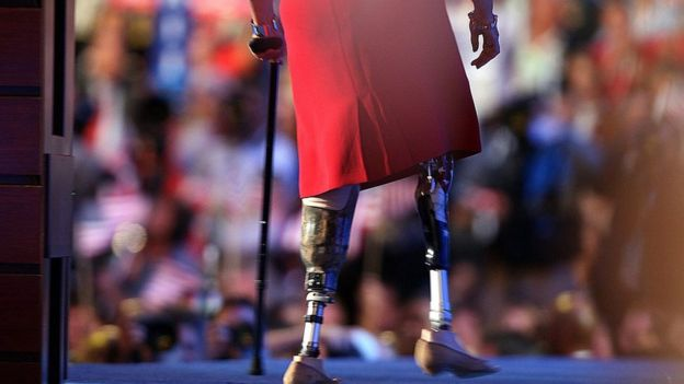 Tammy Duckworth, walks off the stage after speaking in August 2008 at the Democratic National Convention