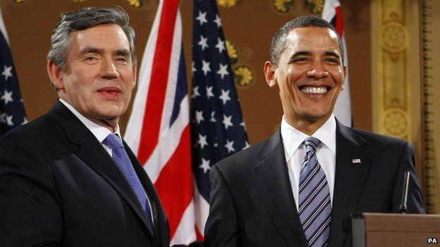 Gordon Brown and Barack Obama appear at a joint press conference on the first day of the 2009 G20 summit in London