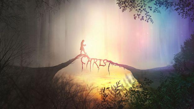"""Imagen de una persona caminando sobre un puente que dice """"Christ"""" o Cristo, en inglés."""
