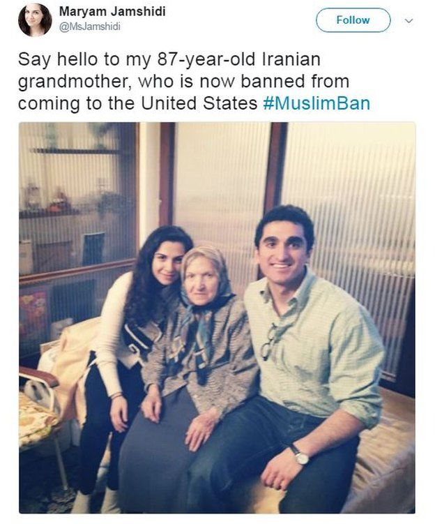 """Maryam Jamshidi tweets a photo of her grandmother with the caption: """"Say hello to my 87-year-old Iranian grandmother, who is now banned from coming to the United States #MuslimBan""""."""
